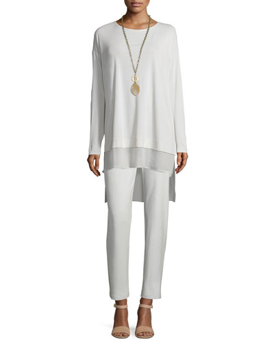Long-Sleeve Layered Silk Tunic & Washable-Crepe Straight-Leg Pants