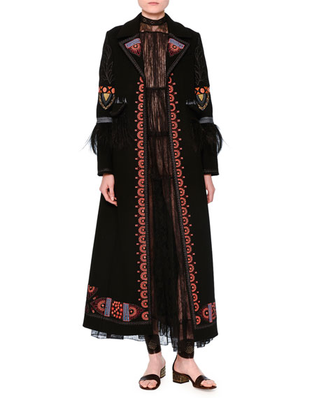 Valentino Ankle-Length Embroidered Coat, Black