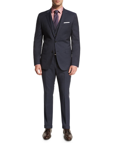 Boss Hugo Boss Hattrick Micro-Print Three-Piece Suit, Blue