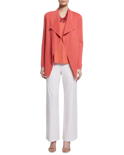 Open Interlock Jacket, Silk-Jersey Tank Top & Wide-Leg Stretch-Crepe Pants, Plus Size