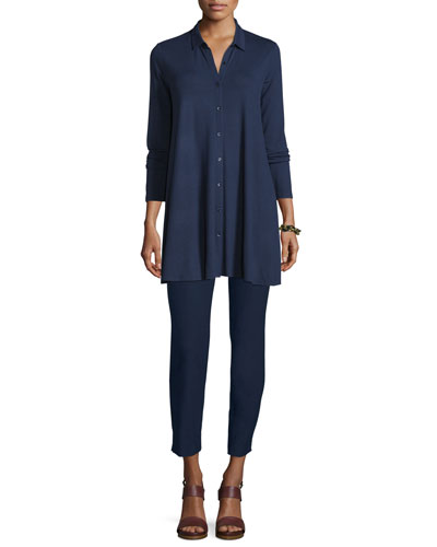 Eileen Fisher Collared Long-Sleeve Jersey Tunic & Washable