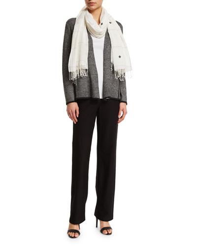 Eileen Fisher Herringbone Peplum Cardigan, Organic Cotton Slim