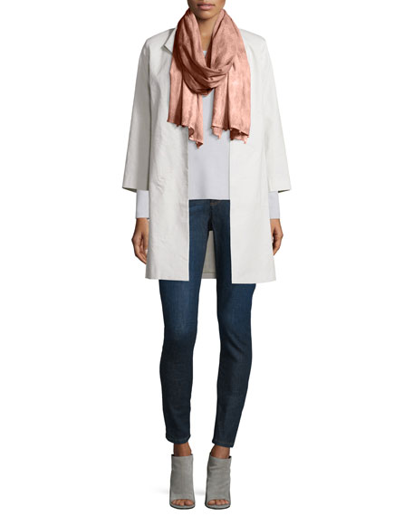 Eileen Fisher Polished Ramie High-Collar Coat