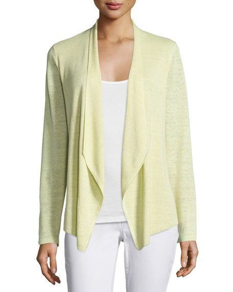 Eileen Fisher Draped-Front Long-Sleeve Cardigan, Petite