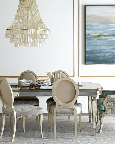 """Eliza 96""""L Antiqued Mirrored Dining Table"""