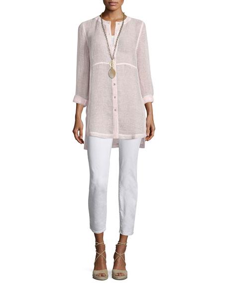 Eileen Fisher Long-Sleeve Button-Front Linen Mesh Top, Opal