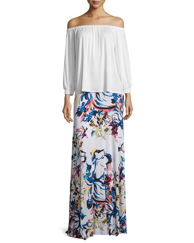 Ayumi Off-the-Shoulder Top & Long Printed Full Skirt