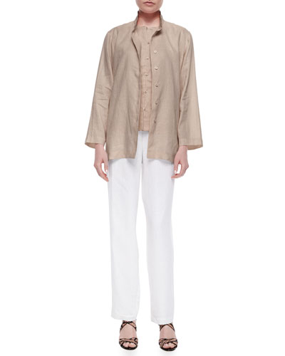 Linen Button-Front Jacket, Linen Button-Front Shell & Straight-Leg Linen Pants