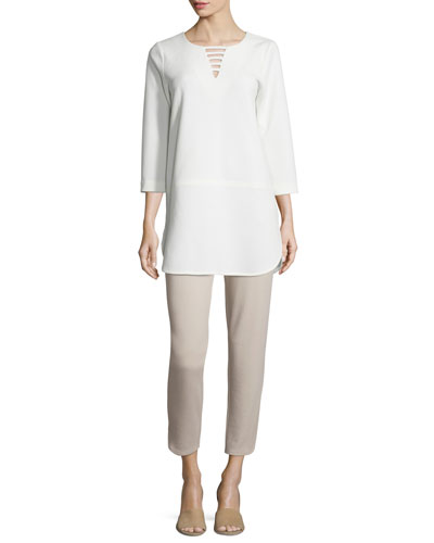 3/4-Sleeve Lattice-Trim Tunic & Ponte Ankle Pants, Petite