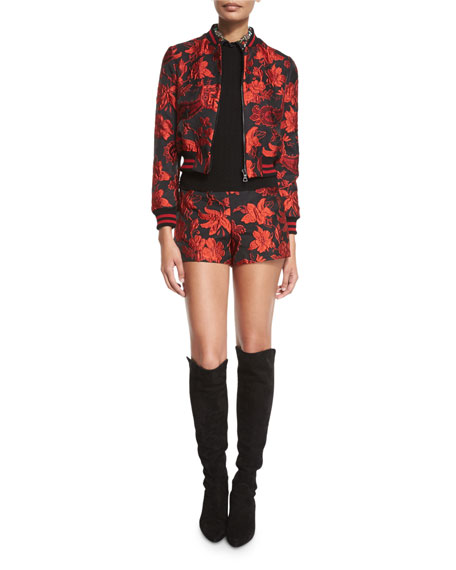 Alice + OliviaLonnie Cropped Floral Jacquard Bomber Jacket
