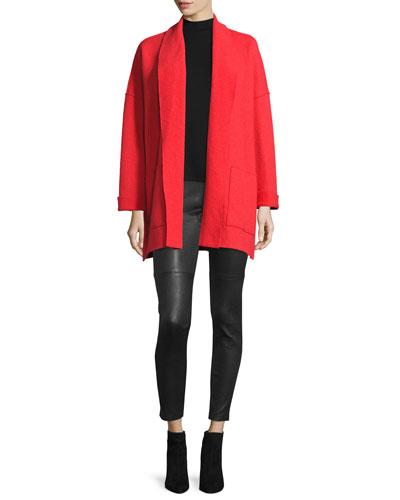 Boiled Wool Kimono Jacket, Silk Georgette Tank & Fisher Project Leather Leggings
