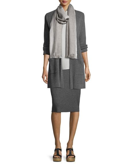 Washable Wool Ribbed Long Cardigan