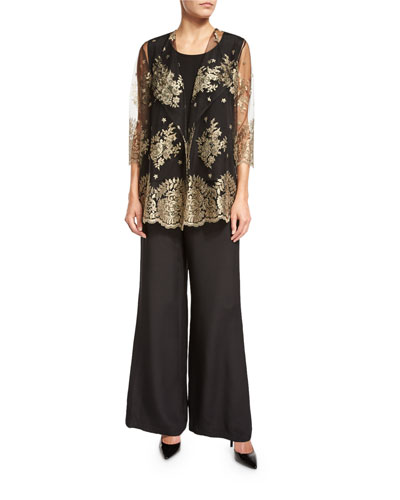Luxury Lace Jacket, Silk Crepe Tank Top & Wide-Leg Pants