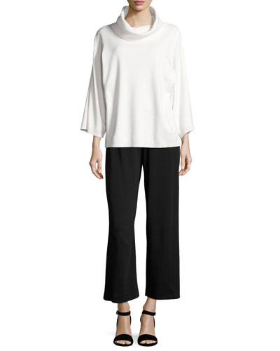 Easy Wide-Leg Ankle Pants & Cowl-Neck Cotton Top