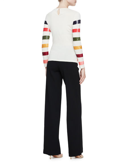 Sequin-Striped Crewneck Sweater, Multicolor