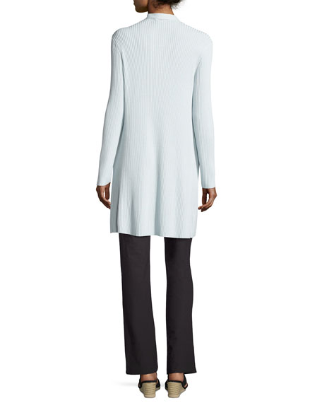 Long Sleek Tencel® Ribbed Cardigan