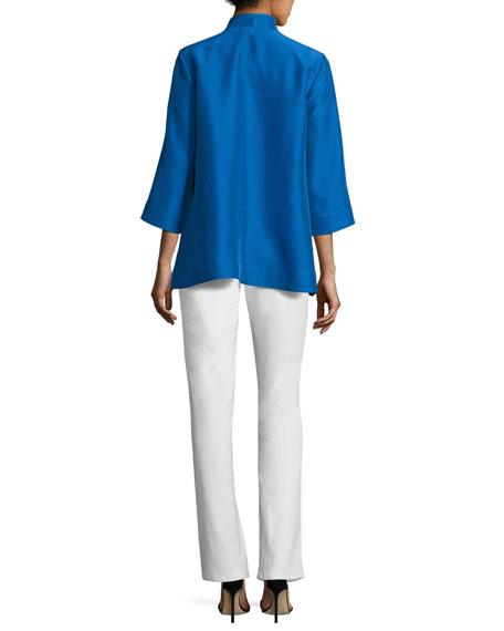 3/4-Sleeve High-Collar Doupioni Silk Blouse