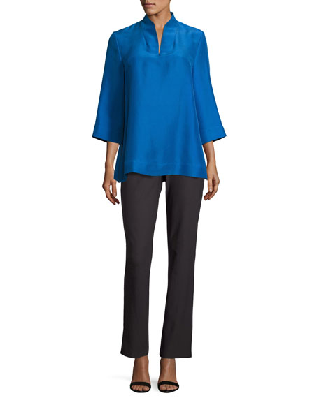 Eileen Fisher Petite 3/4-Sleeve High-Collar Doupioni Silk Blouse