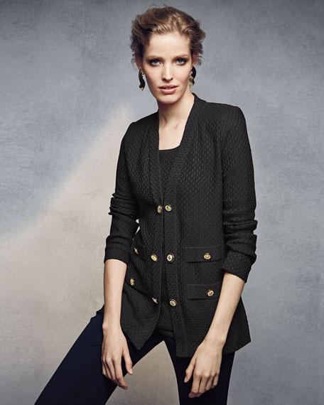 Textured Straight-Cut Knit Jacket, Petite