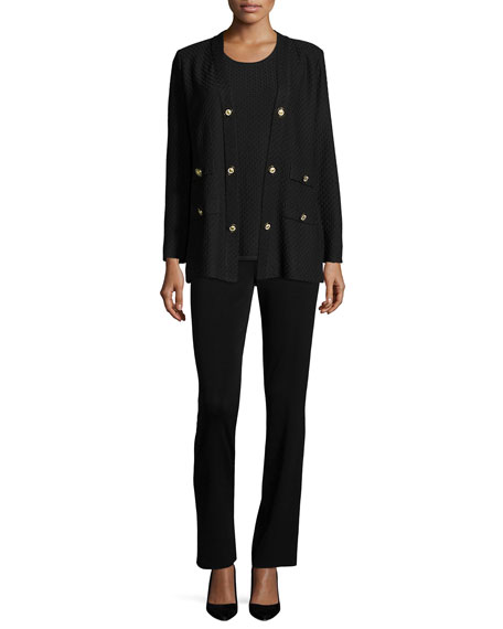 Textured Straight-Cut Knit Jacket, Plus Size