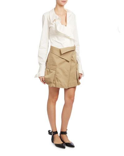 Asymmetric Stretch Poplin Blouse & Skirt