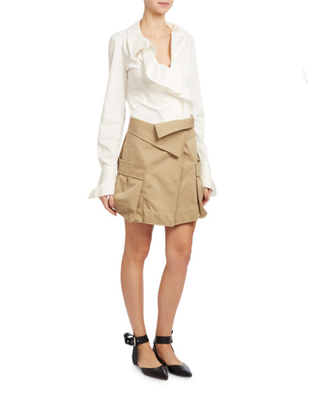 Long-Sleeve Dobby French-Cuff Blouse, White