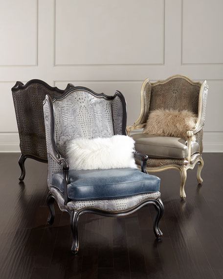 Massoud Beth Leather Wingback Chair
