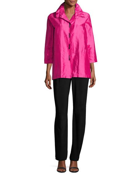 Shantung Silk Shirt Jacket, Petite