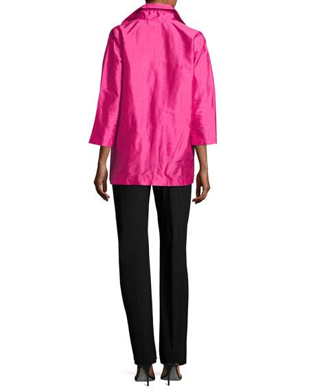 Shantung Silk Shirt Jacket, Plus Size