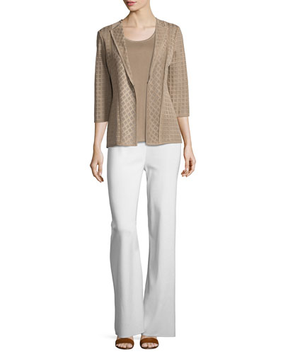 Lattice Textured 3/4-Sleeve Jacket, Light Brown   and Matching Items
