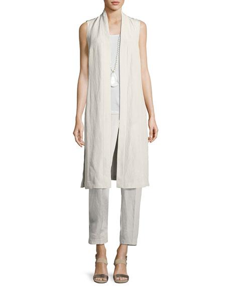 Eileen Fisher Long Sleeveless Organic Linen/Silk Kimono Vest