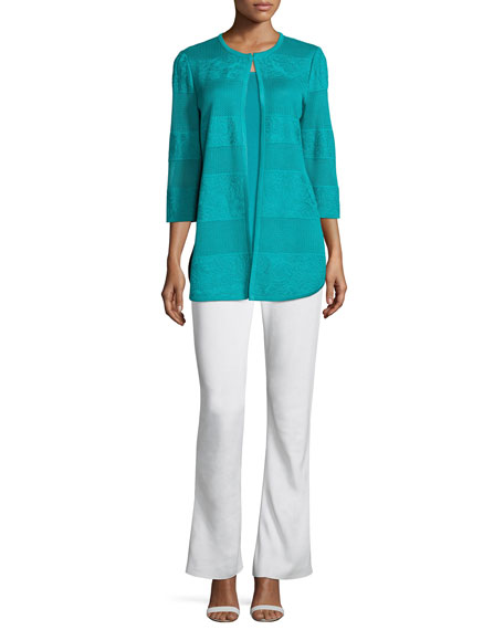 Textured Lines Long Jacket, Turquoise