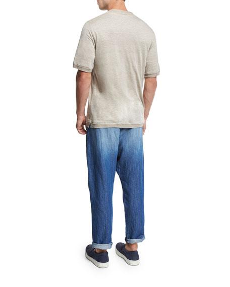 Sweater-Trim Crewneck T-Shirt