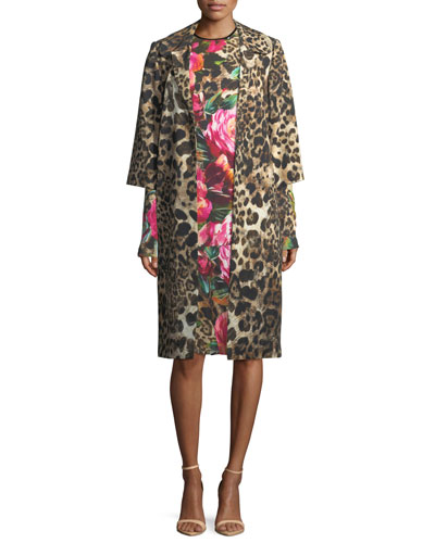 Long-Sleeve Floral Leopard Dress, Black/Pink and Matching Items