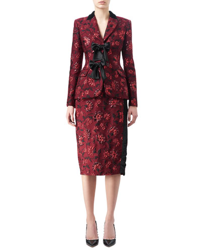 Angela Floral Jacquard Jacket with Satin Bows and Matching Items