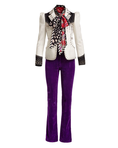 Studded Denim Western Blazer, White