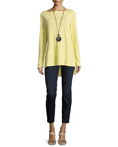 Bateau-Neck Organic Linen Jersey Top