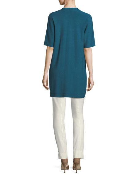 Long Simple Half-Sleeve Cardigan