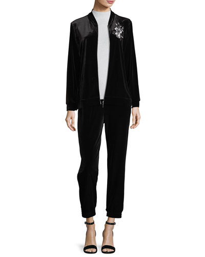 Embroidered Velvet Jacket, Petite and Matching Items