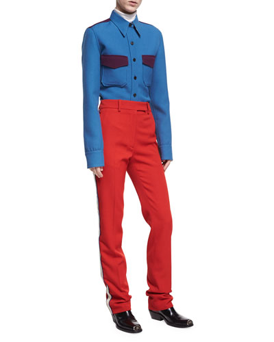 Wool Twill Western Shirt, Blue and Matching Items