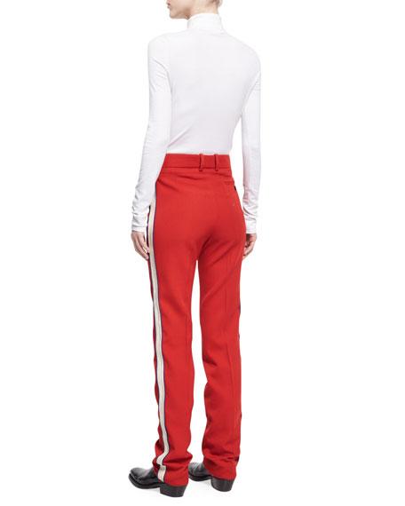 Side-Stripe Wool Twill Pants