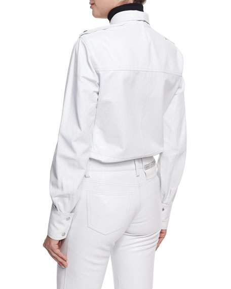 Leather Snap-Front Utility Shirt, White