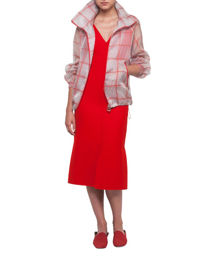 V-Neck Sleeveless Wool-Silk Midi Dress and Matching Items