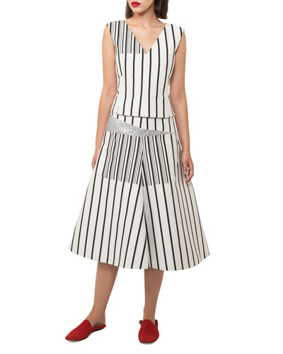 Structured A-line Striped Cotton Canvas Midi Skirt w/ Metallic and Matching Items