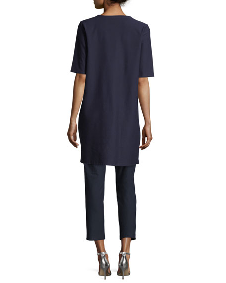 Eileen Fisher Half-Sleeve Crepe Shift Dress