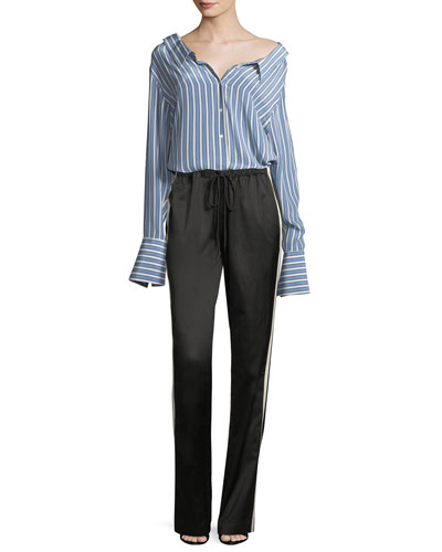 Striped Button-Front Gathered-Back Silk Satin Shirt and Matching Items