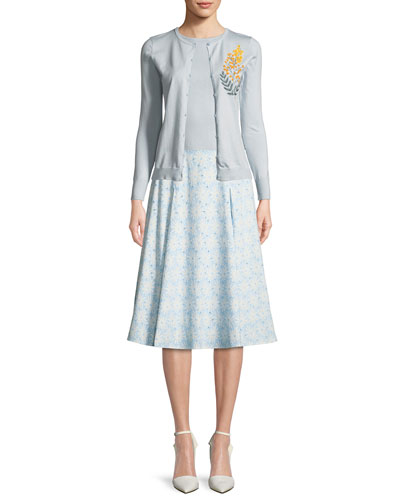 Cashmere Silk Button-Front Embroidered Cardigan and Matching Items