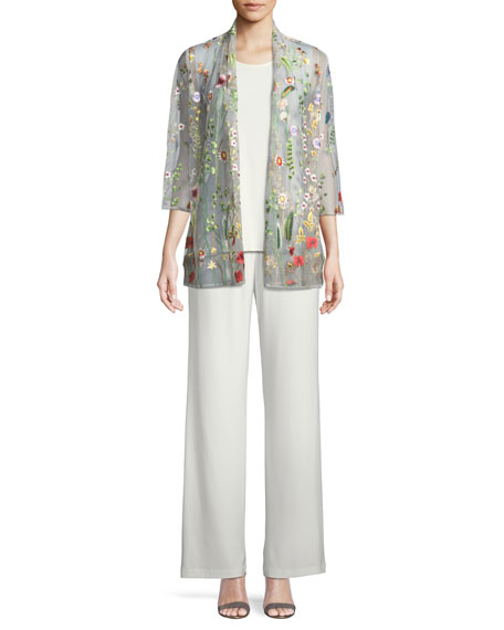 Caroline Rose Garden Walk Embroidered Mesh Cardigan