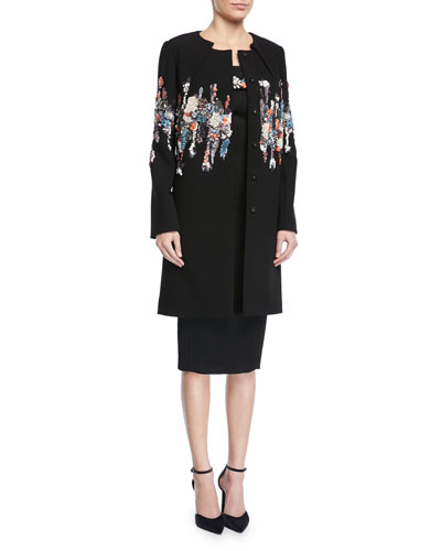 Pleated-Neck Garden-Sequined Embroidered Coat  and Matching Items