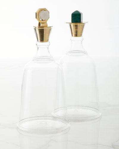 Gold Levi Quartz Decanter and Matching Items